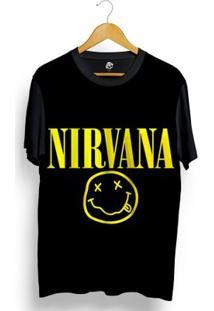 Camiseta Bsc Nirvana Print Full Print - Masculino-Preto