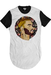 Camiseta Longline Chris Brown Floral Masculina - Masculino