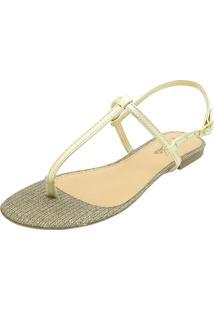 Sandália Rasteira Hope Shoes Dourado