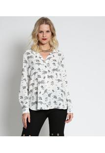 Camisa Animal Print- Branca & Azul Marinho- Intensintens