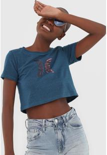 Camiseta Cropped Hurley Icon Tie Dye Azul - Kanui