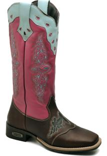 Bota Top Franca Shoes Texana - Feminino-Rosa+Marrom