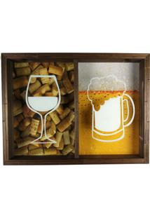 Quadro Art Frame Porta Rolhas E Tampinhas Madeira Decorativo Cerveja Ou Vinho