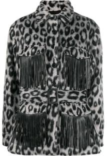 Andamane Evita Animal Print Shirt Jacket - Cinza