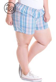 Short Konciny Plus Size Tecido Anarruga 51933 Xadrez Azul - Kanui