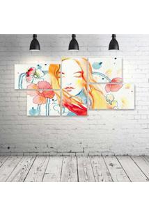 Quadro Decorativo - Face-Color-Art-Draw-(5) - Composto De 5 Quadros - Multicolorido - Dafiti