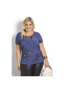 Blusa Plus Size Feminina De Viscose Estampa Flores