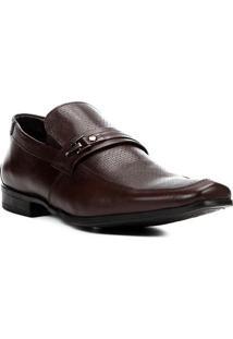 Sapato Social Couro Shoestock Textura Fivela Masculino - Masculino-Café