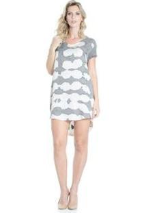 Vestido Reto Tie-Dye Douglas Harris - Feminino-Branco+Cinza
