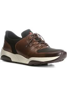 Tênis Couro Shoestock Jogging Neoprene Masculino - Masculino-Marrom