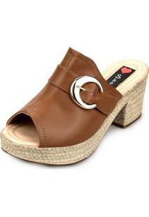 96d0a80c53 ... Tamanco Love Shoes Salto Bloco Meia Pata Plataforma Mule Fivela Caramelo