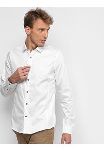 Camisa Acostamento Lisa Elastano Masculina - Masculino-Branco