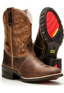 Bota Texana Country Capelli Boots Em Couro Com Detalhes Em Costura Masculina - Masculino