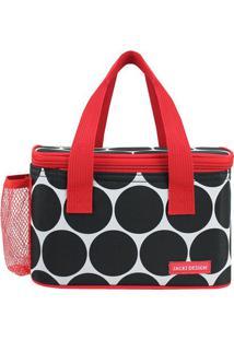 Bolsa Tã©Rmica Com Bolso Lateral- Preta & Vermelha- 1Jacki Design