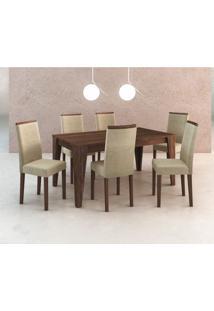 Conjunto De Mesa Com 6 Cadeiras Tibete Suede Nogal E Creme