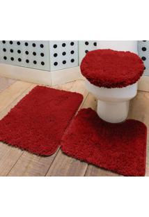 Jogo De Banheiro 65Cm Vermelho Prime 3 Peças Polipropileno - Ione Enxovais