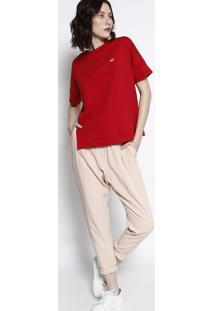 Blusa Em Moletinho Com ZãPer- Vermelha & Laranja- Momormaii