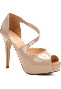 Sandália Shoestock Meia Pata Verniz - Feminino-Nude