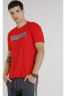 "Camiseta Masculina ""Unoriginal"" Manga Curta Gola Careca Vermelha"