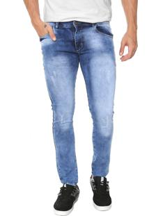 Calça Jeans Ride Skateboard Slim Acid Azul