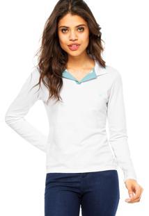 Camisa Polo Manga Longa Malwee Logo Branca