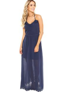 Vestido Longo Enfim Guipir Azul