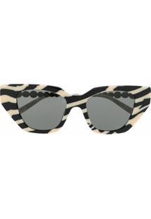 Gucci Eyewear Óculos De Sol Gatinho Com Aplicação De Cristais - Preto