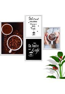 Kit Conjunto 4 Quadro Oppen House S Frases Eu Você E Café Lojas Cafeteria Xícaras Grãos Moldura Branca Decorativo Interiores Sem Vidro - Kanui