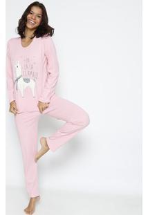 "Pijama ""Fa La La Lhama""- Rosa Claro & Cinza- Zulaizulai"