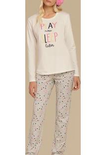 Pijama Cor Com Amor 10634 Feminino - Feminino-Branco+Cinza