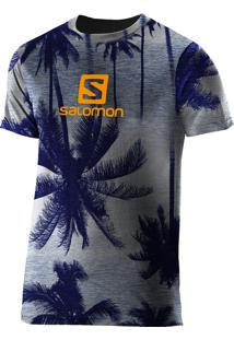 Camiseta Logo Graphic Ss Palm Gg Azul Masculina - Salomon