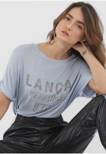 Camiseta Lanã§A Perfume Aplicaã§Ãµes Azul - Azul - Feminino - Viscose - Dafiti