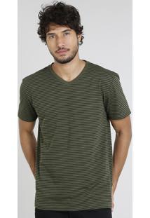 Camiseta Masculina Básica Listrada Manga Curta Gola V Verde Militar