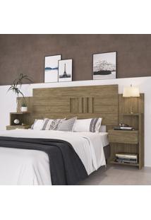 Cabeceira Extensível Casal Decibal Móveis Ca30 Onix 2 Mesas Apoio Wood
