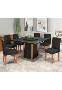 Conjunto De Mesa De Jantar Com Tampo Giratório Julia Com 6 Cadeiras Estofada Ana Veludo Preto