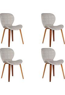 Kit 4 Cadeiras Decorativas De Escritã³Rio Recepã§Ã£O Granclass Linho Bege - Gran Belo - Bege - Dafiti
