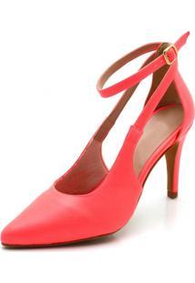 Sapato Scarpin Aberto Salto Alto Fino Em Napa Rosa Salmão Neon