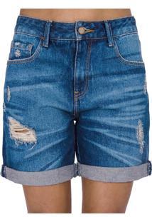Bermuda Jeans Destroyed Cantão - Feminino-Azul