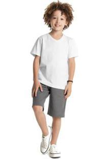 Bermuda Infantil Premium Rovitex Kids Masculina - Masculino-Cinza