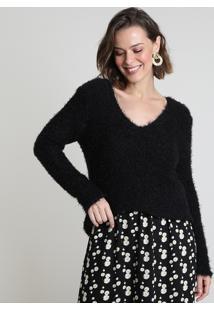 Suéter Feminino Em Tricô Felpudo Decote V Preto