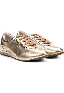 Tênis Couro Jorge Bischoff Jogging Placa Metalizado Feminino - Feminino-Dourado