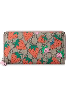 Gucci Carteira Gg Com Estampa Gucci Strawberry - Marrom