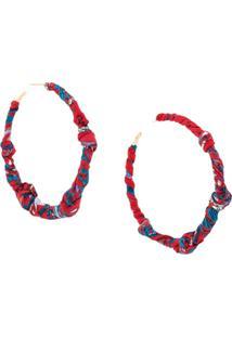 Salvatore Ferragamo Scarf-Knot Oversized Hoop Earring - Vermelho