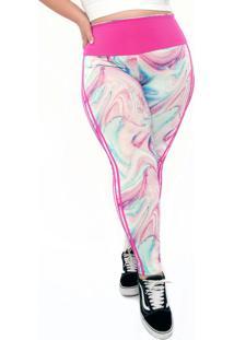 Calça Legging Plus Size Estampada Cós 2 Em 1 Rosa