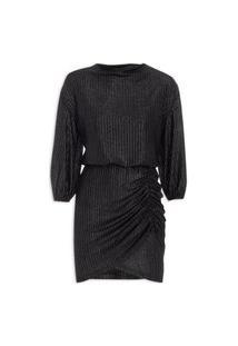Vestido Malha Decote Degagê- Preto