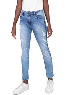 Calça Jeans Indigo Jeans Skinny Destroyed Aplicações Azul