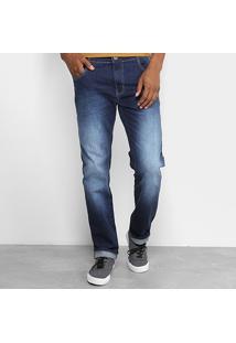 Calça Jeans Slim Coca-Cola Regular Estonada Masculina - Masculino-Azul