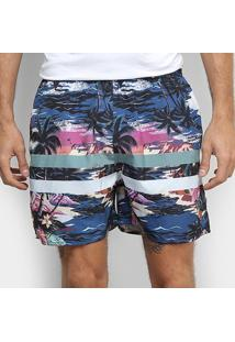 Shorts Colcci Estampado Tropical Listras Masculino - Masculino-Colorido