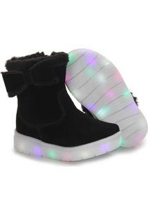 Ankle Boots Infantil Klassipé Com Led - 20 Ao 27 - Preto