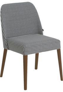 Cadeira Rosini - Base Amãªndoa E Tecido Preto E Branco